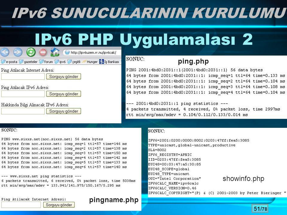 IPv6 PHP Uygulamalası 2 IPv6 SUNUCULARININ KURULUMU ping.php