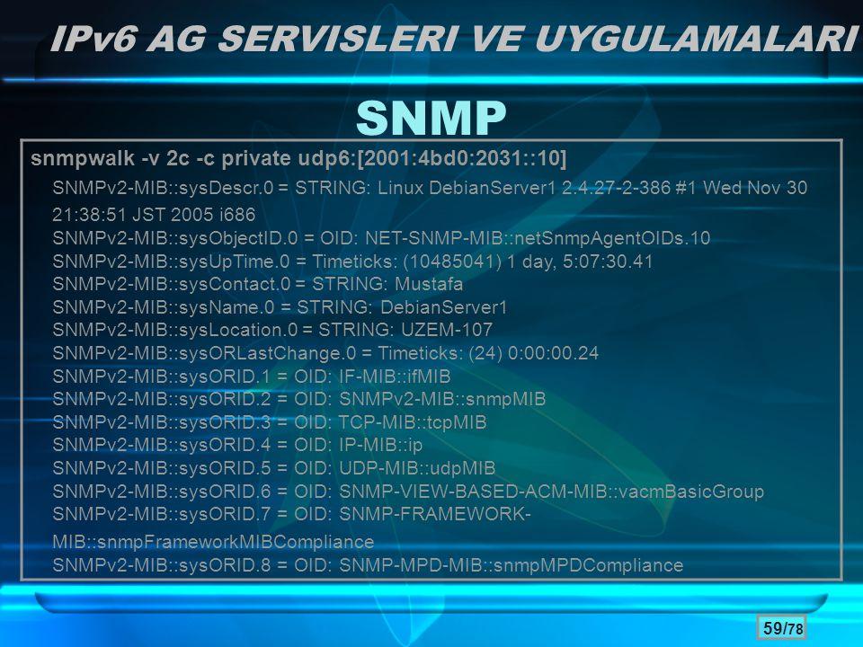 SNMP IPv6 AG SERVISLERI VE UYGULAMALARI