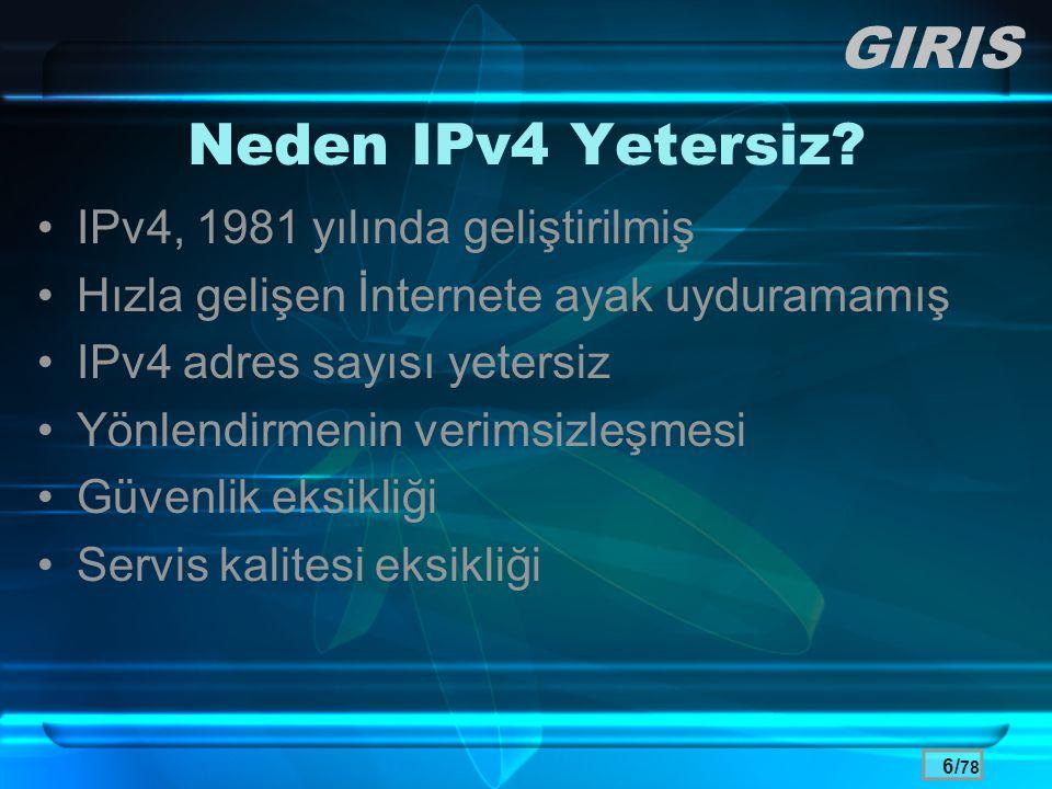 GIRIS Neden IPv4 Yetersiz IPv4, 1981 yılında geliştirilmiş