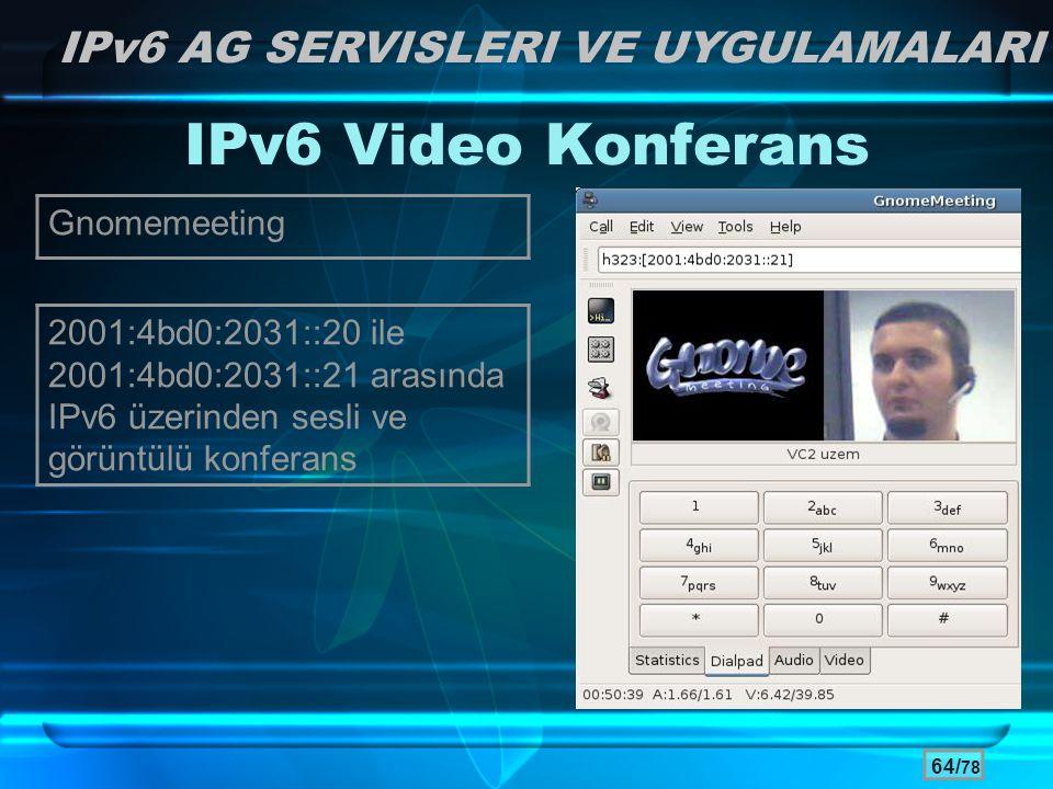 IPv6 Video Konferans IPv6 AG SERVISLERI VE UYGULAMALARI Gnomemeeting