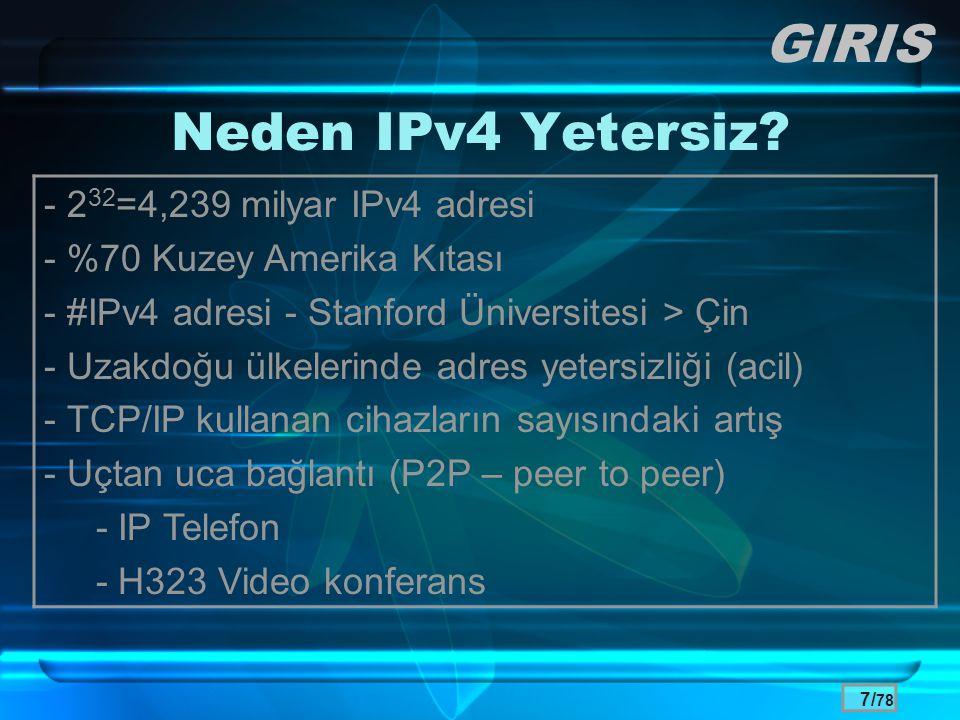GIRIS Neden IPv4 Yetersiz - 232=4,239 milyar IPv4 adresi
