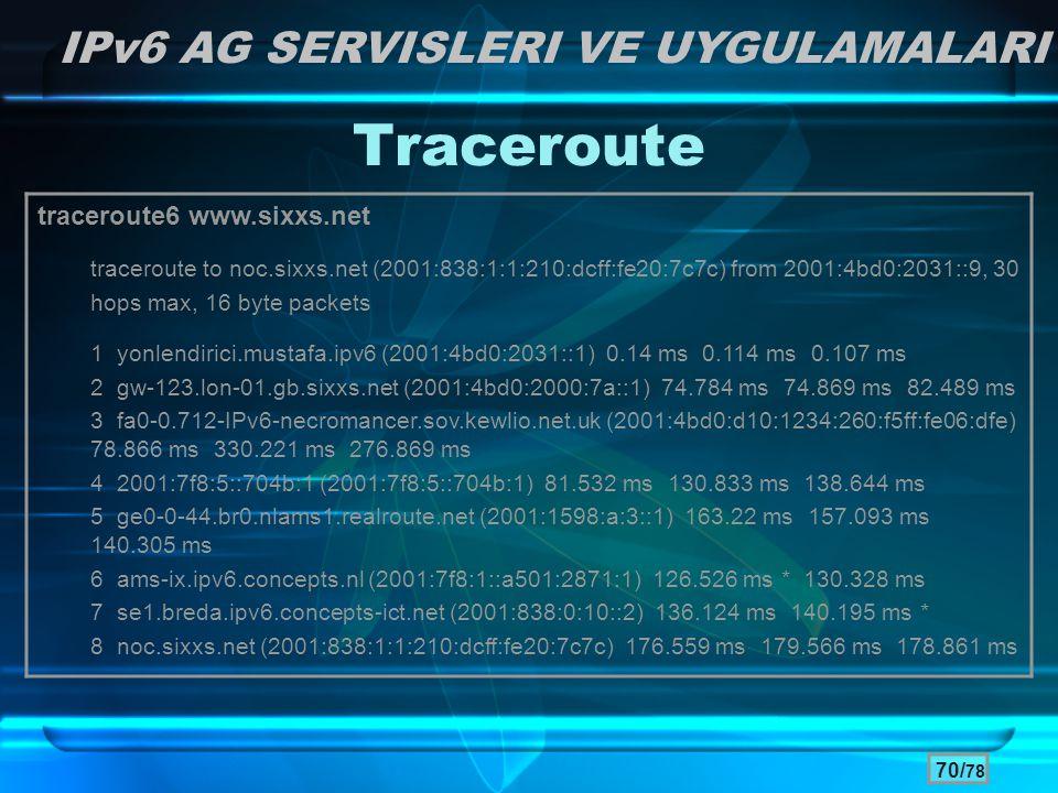 Traceroute IPv6 AG SERVISLERI VE UYGULAMALARI