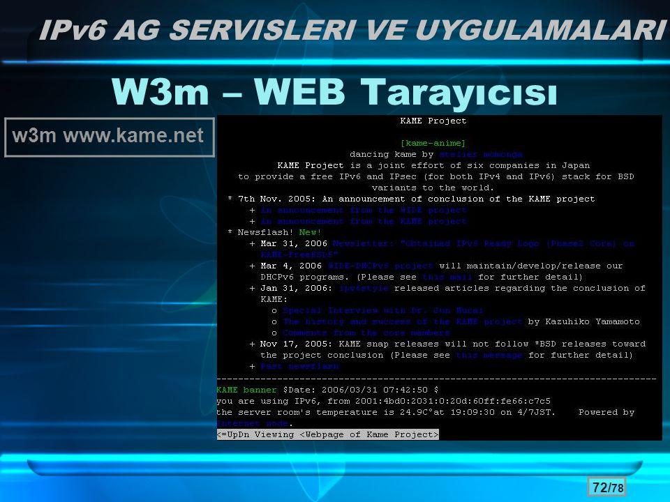 W3m – WEB Tarayıcısı IPv6 AG SERVISLERI VE UYGULAMALARI