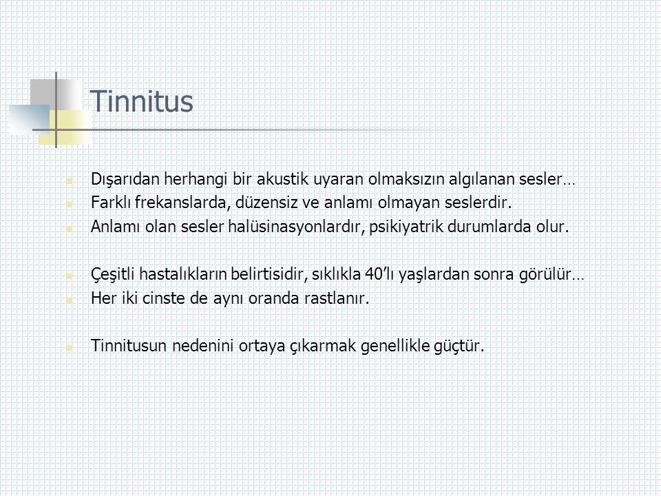 Tinnitus Dışarıdan herhangi bir akustik uyaran olmaksızın algılanan sesler… Farklı frekanslarda, düzensiz ve anlamı olmayan seslerdir.