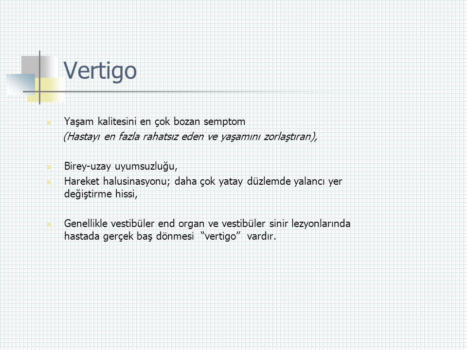 Vertigo Yaşam kalitesini en çok bozan semptom