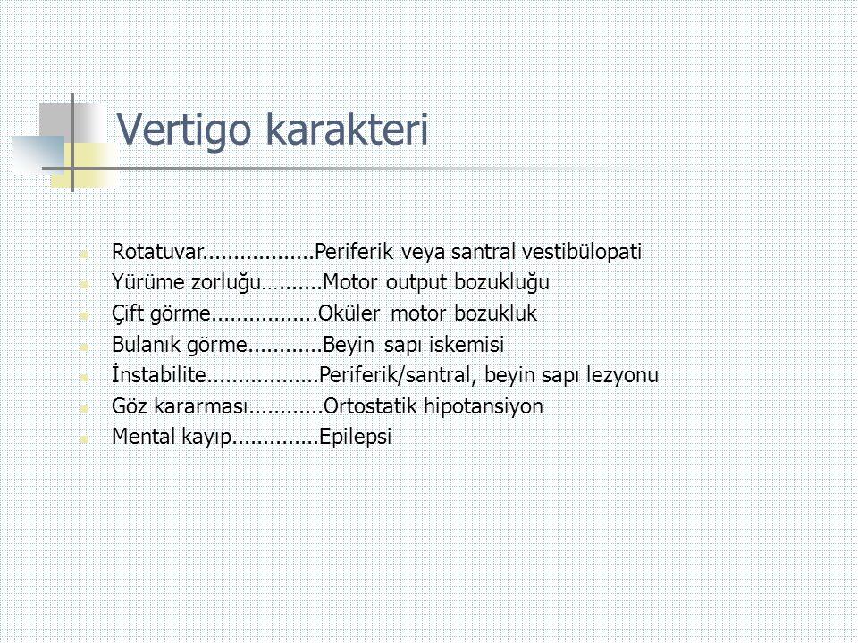 Vertigo karakteri Rotatuvar..................Periferik veya santral vestibülopati. Yürüme zorluğu….......Motor output bozukluğu.