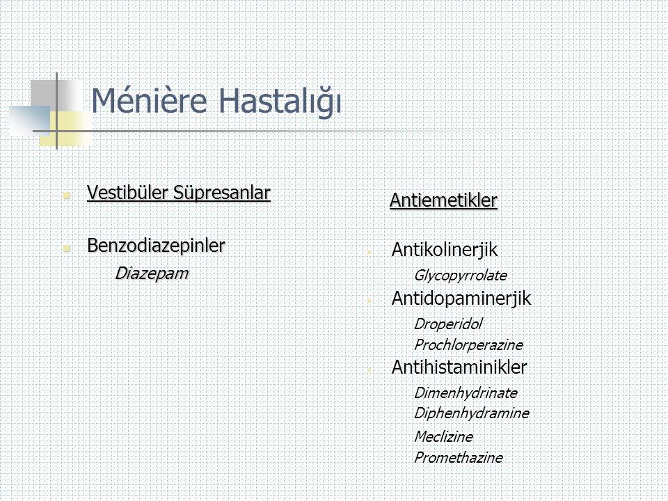 Ménière Hastalığı Vestibüler Süpresanlar Antiemetikler