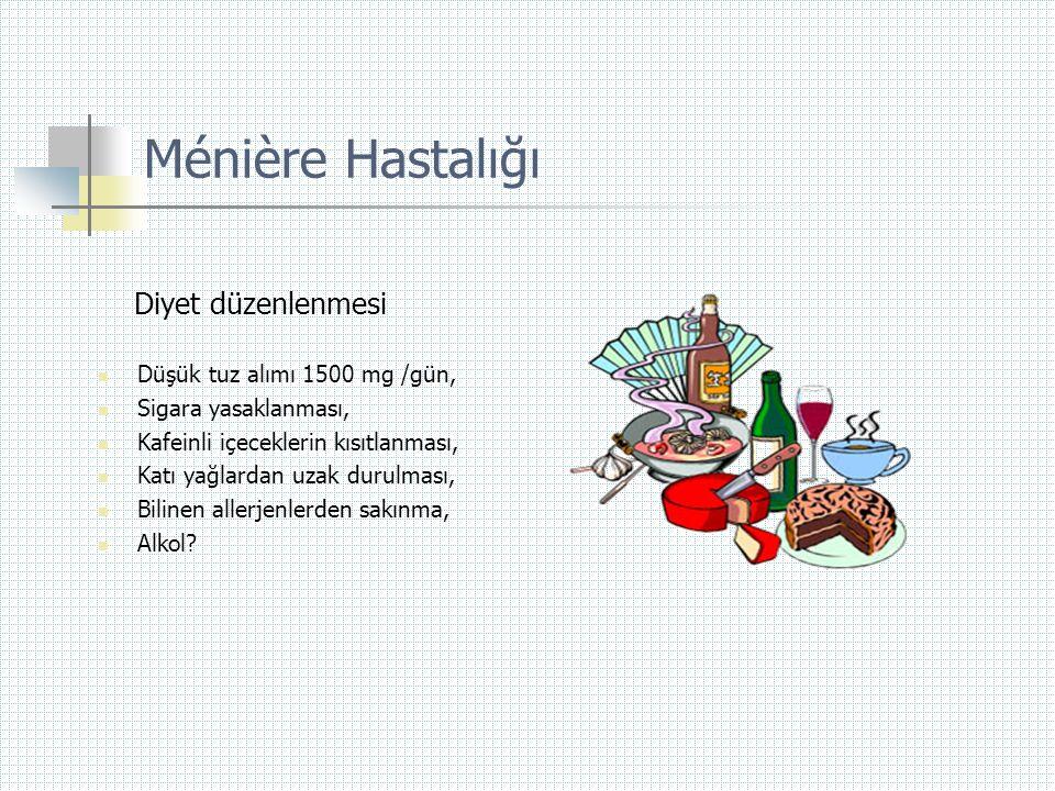 Ménière Hastalığı Diyet düzenlenmesi Düşük tuz alımı 1500 mg /gün,