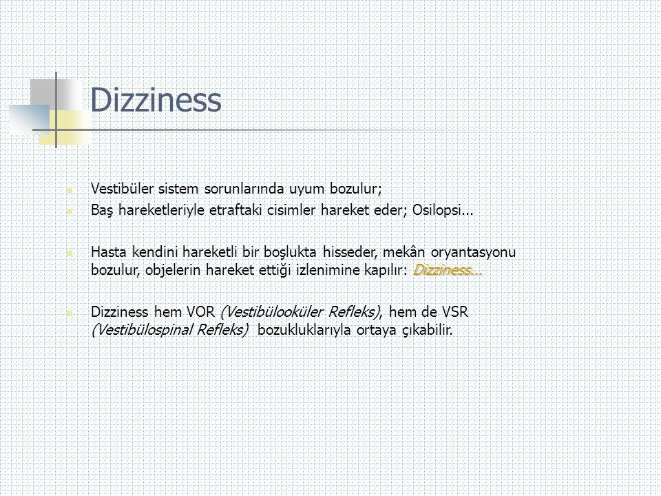 Dizziness Vestibüler sistem sorunlarında uyum bozulur;