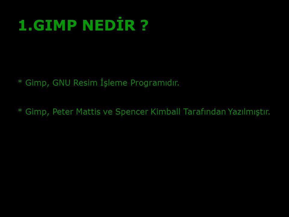 2 GIMP NEDİR * Gimp, GNU Resim İşleme Programıdır.