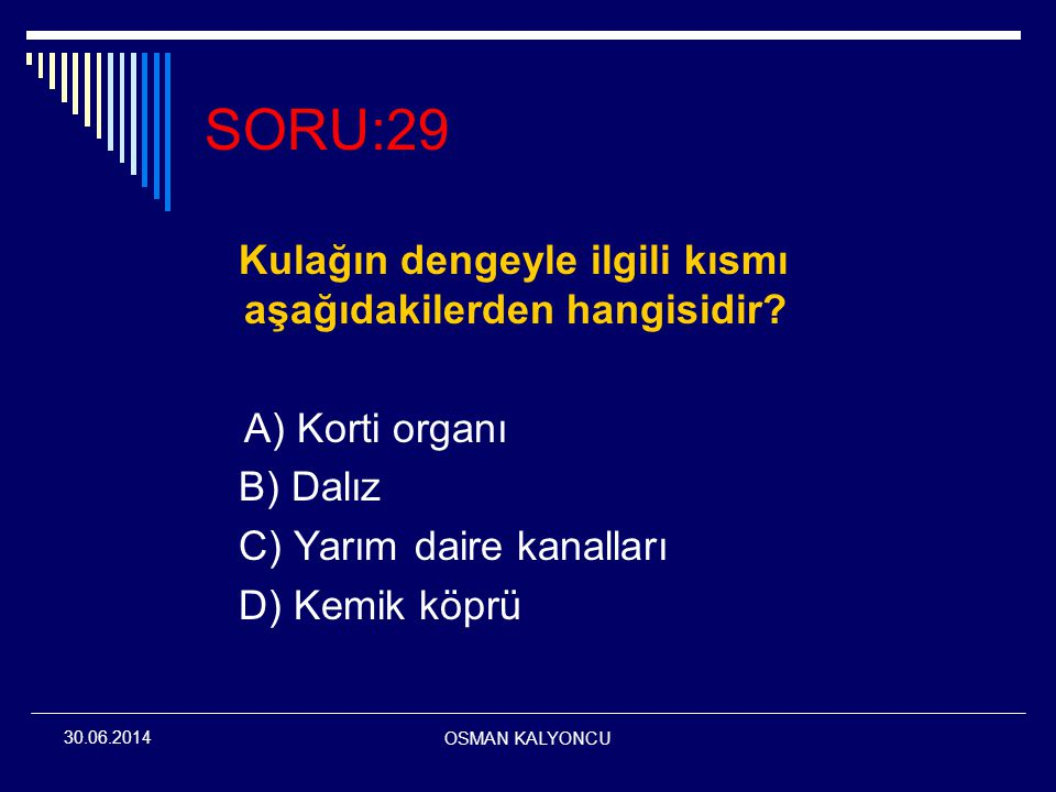 SORU:29 Kulağın dengeyle ilgili kısmı aşağıdakilerden hangisidir