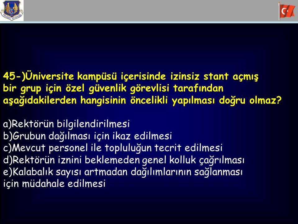 45-)Üniversite kampüsü içerisinde izinsiz stant açmış