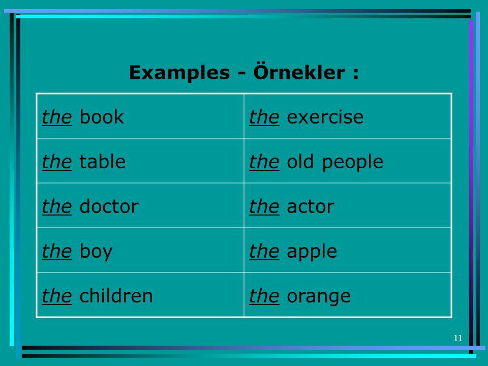 Examples - Örnekler : the book. the exercise. the table the old people. the doctor the actor.