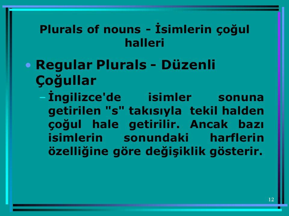 Plurals of nouns - İsimlerin çoğul halleri