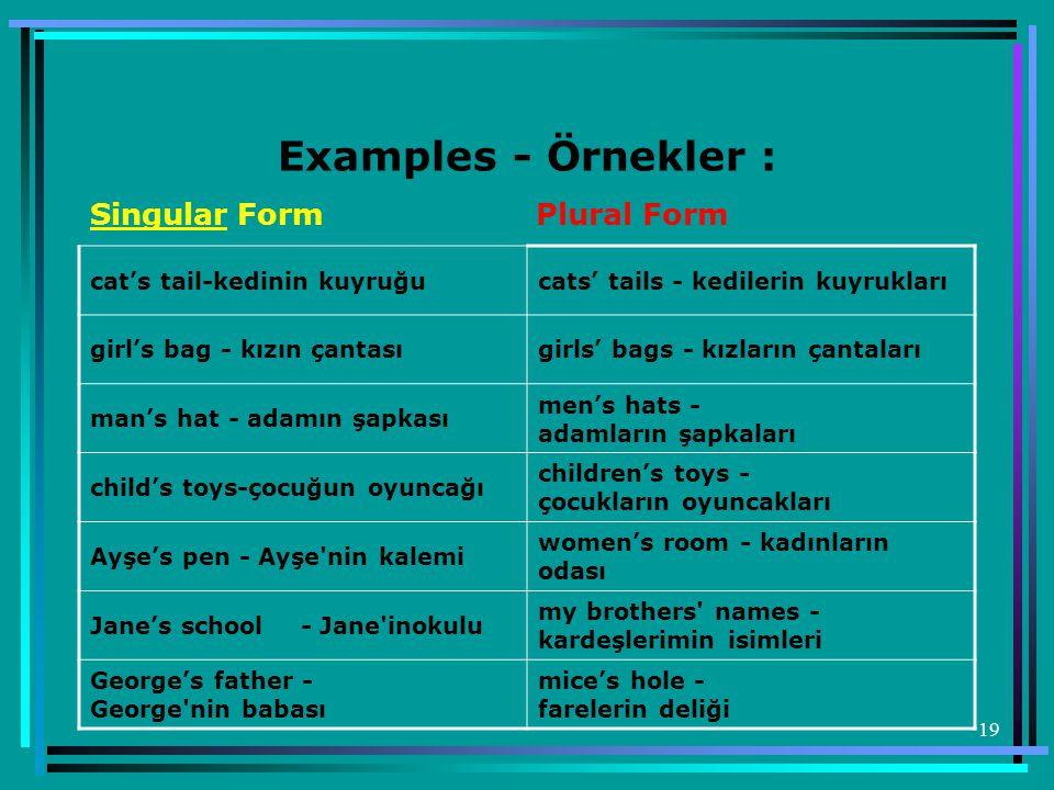 Examples - Örnekler : Singular Form Plural Form