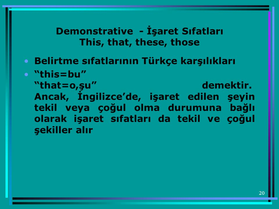 Demonstrative - İşaret Sıfatları This, that, these, those