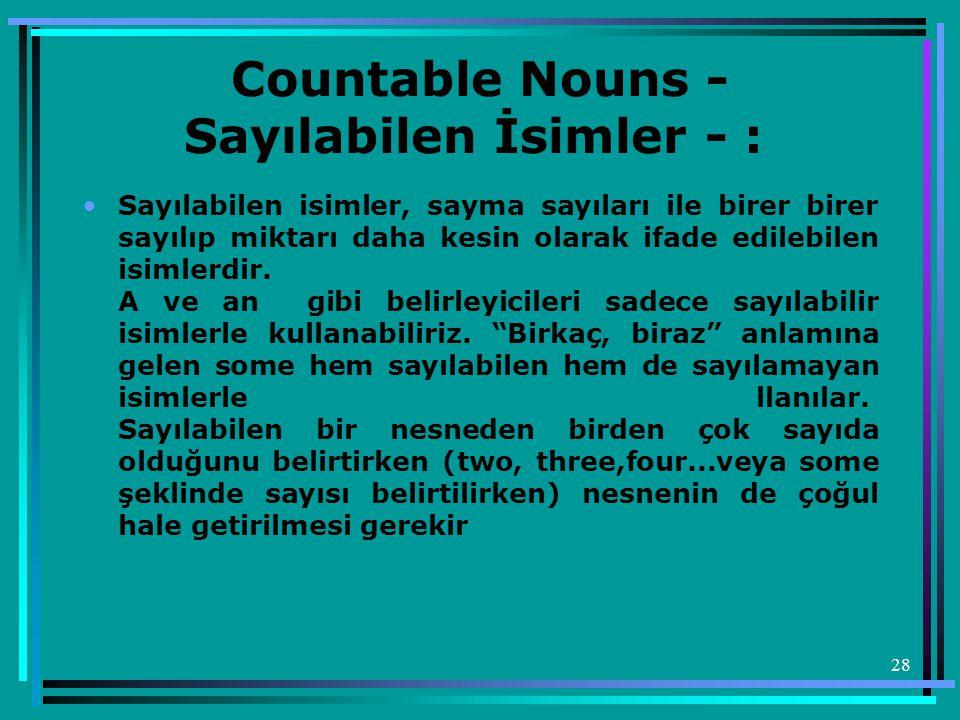Countable Nouns - Sayılabilen İsimler - :
