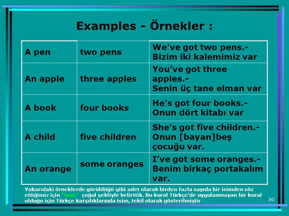 Examples - Örnekler : A pen two pens