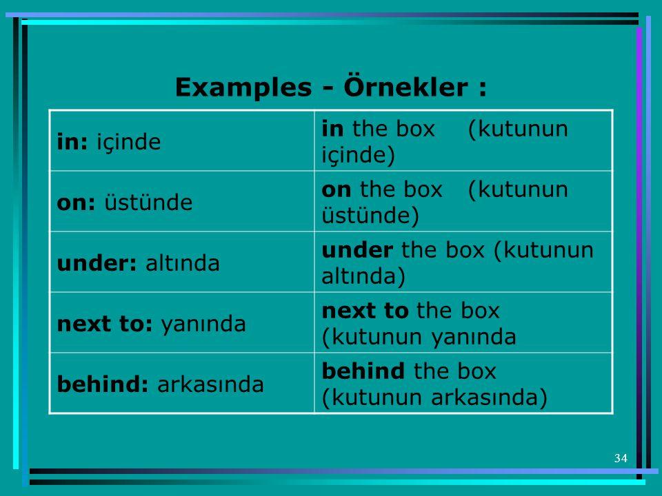 Examples - Örnekler : in the box (kutunun içinde) in: içinde