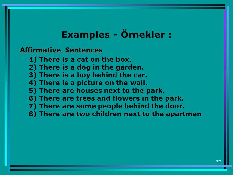 Examples - Örnekler : Affirmative Sentences