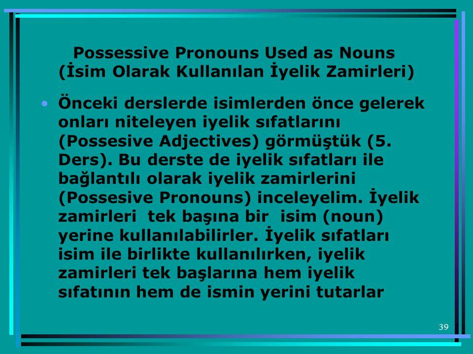 Possessive Pronouns Used as Nouns (İsim Olarak Kullanılan İyelik Zamirleri)