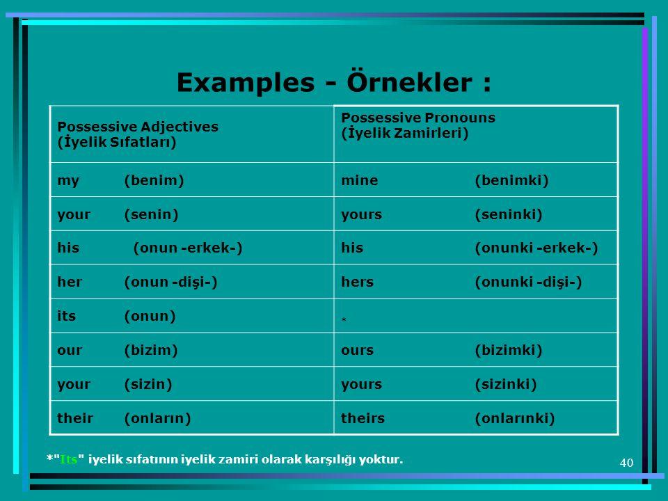 Examples - Örnekler : Possessive Adjectives (İyelik Sıfatları) Possessive Pronouns (İyelik Zamirleri)