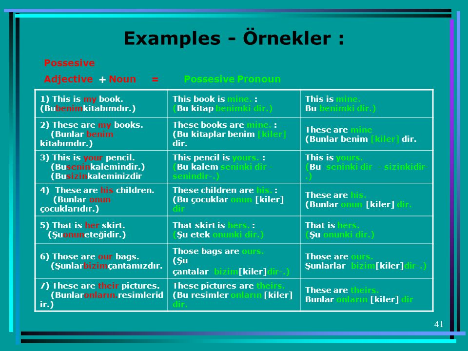 Examples - Örnekler : Possesive Adjective + Noun = Possesive Pronoun