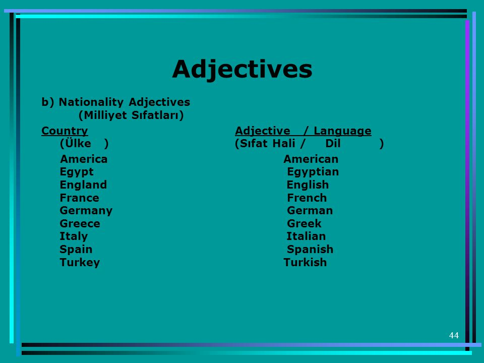 Adjectives b) Nationality Adjectives (Milliyet Sıfatları)