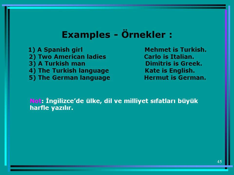 Examples - Örnekler :