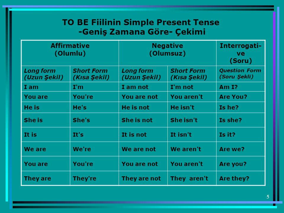 TO BE Fiilinin Simple Present Tense -Geniş Zamana Göre- Çekimi