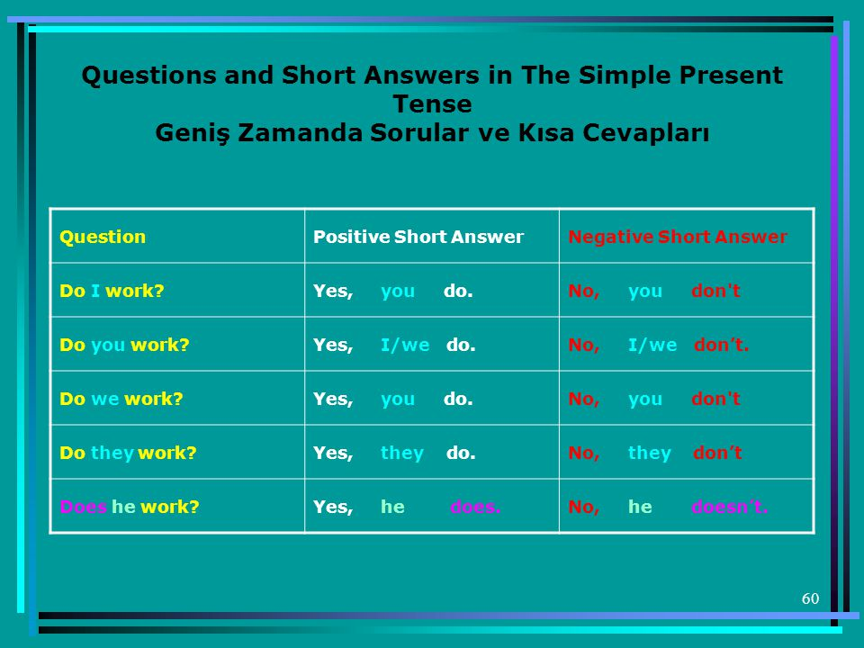 Questions and Short Answers in The Simple Present Tense Geniş Zamanda Sorular ve Kısa Cevapları