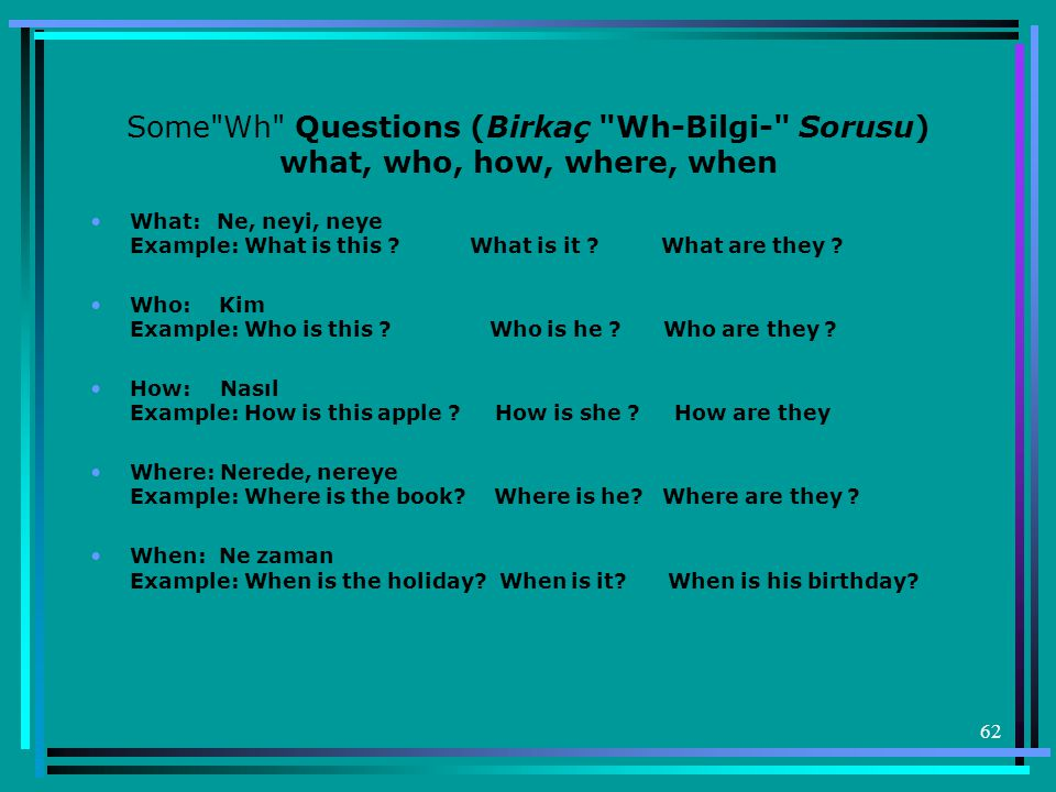 Some Wh Questions (Birkaç Wh-Bilgi- Sorusu) what, who, how, where, when