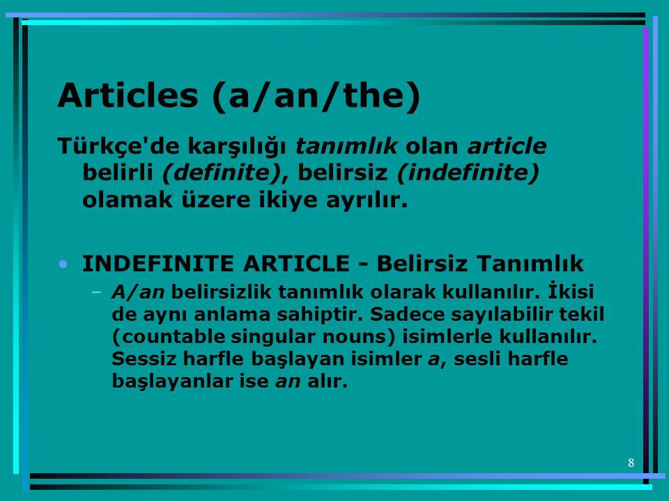 Articles (a/an/the) Türkçe de karşılığı tanımlık olan article belirli (definite), belirsiz (indefinite) olamak üzere ikiye ayrılır.