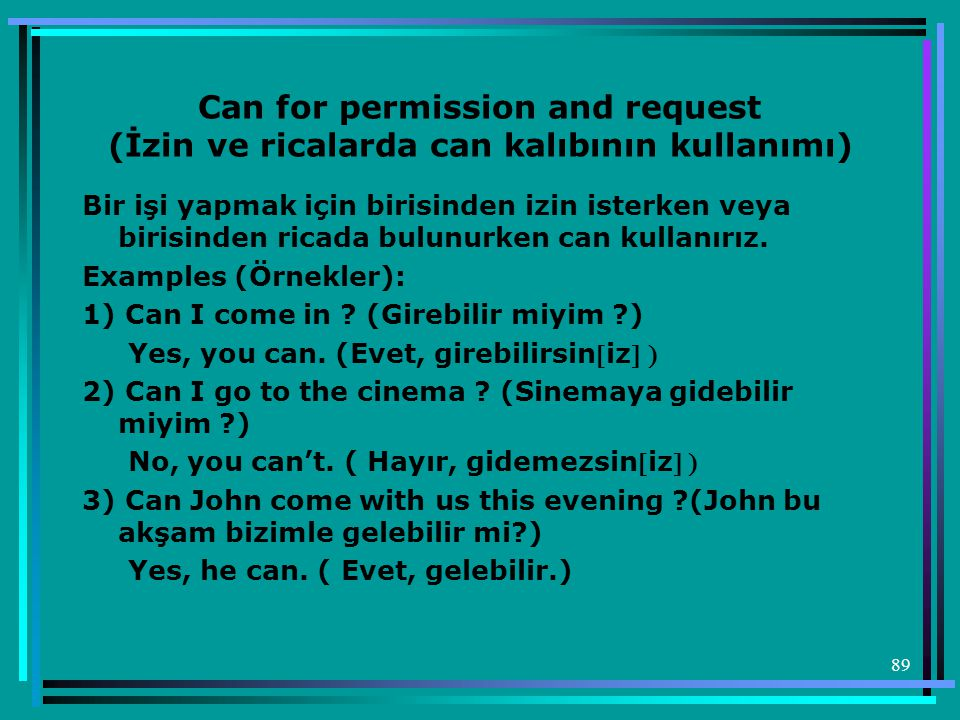 Can for permission and request (İzin ve ricalarda can kalıbının kullanımı)
