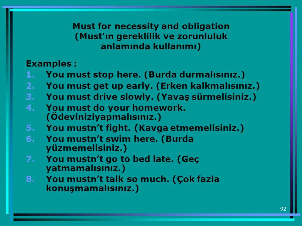 Must for necessity and obligation (Must ın gereklilik ve zorunluluk anlamında kullanımı)