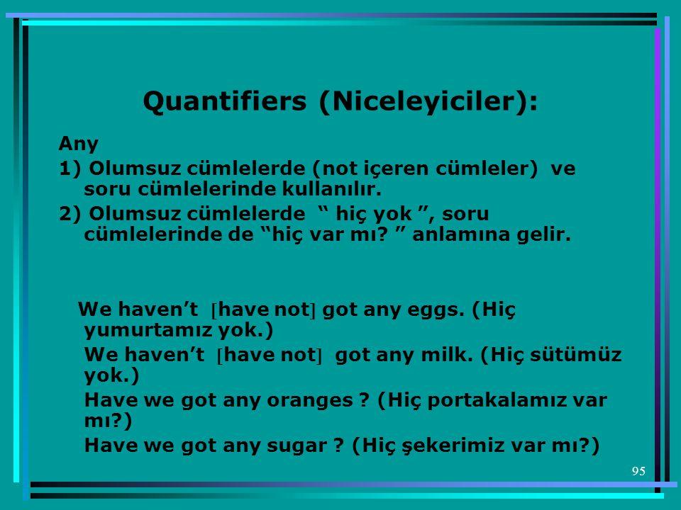 Quantifiers (Niceleyiciler):