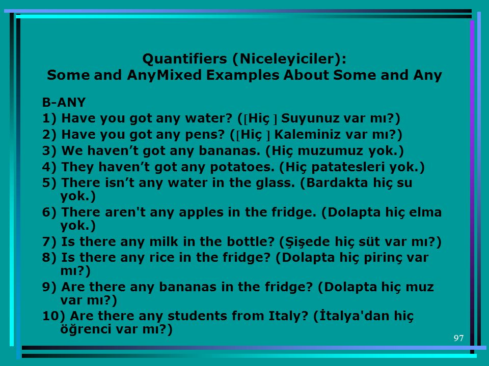 Quantifiers (Niceleyiciler): Some and AnyMixed Examples About Some and Any