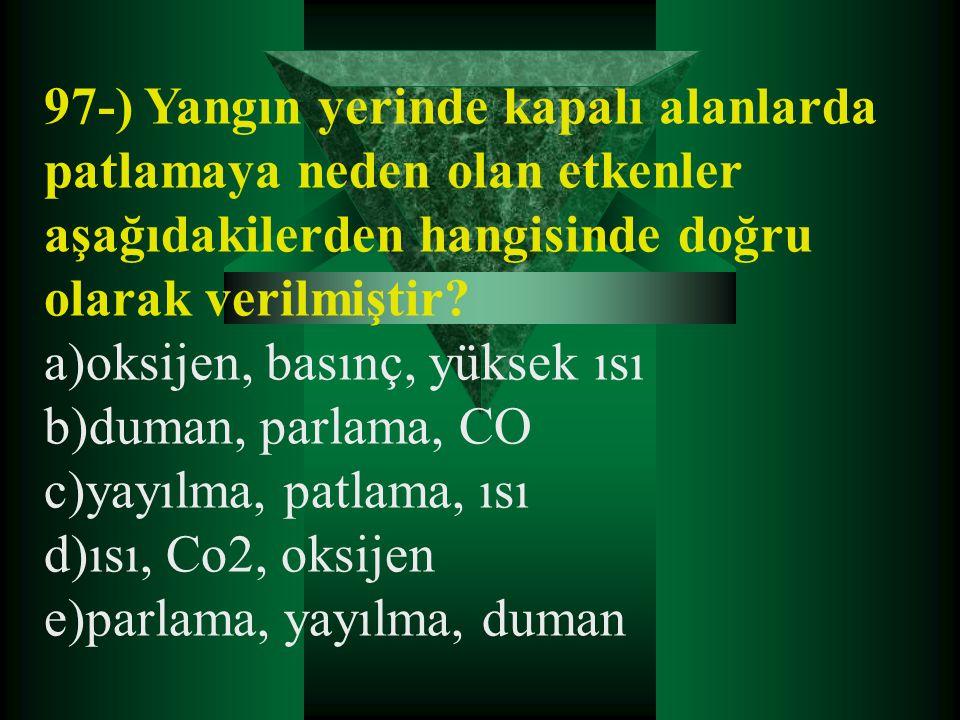 97-) Yangın yerinde kapalı alanlarda patlamaya neden olan etkenler aşağıdakilerden hangisinde doğru olarak verilmiştir