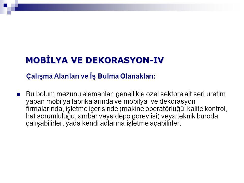 MOBİLYA VE DEKORASYON-IV