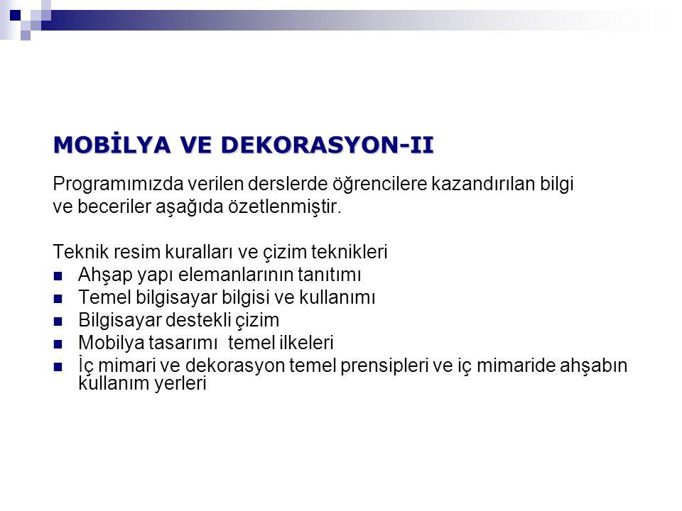 MOBİLYA VE DEKORASYON-II
