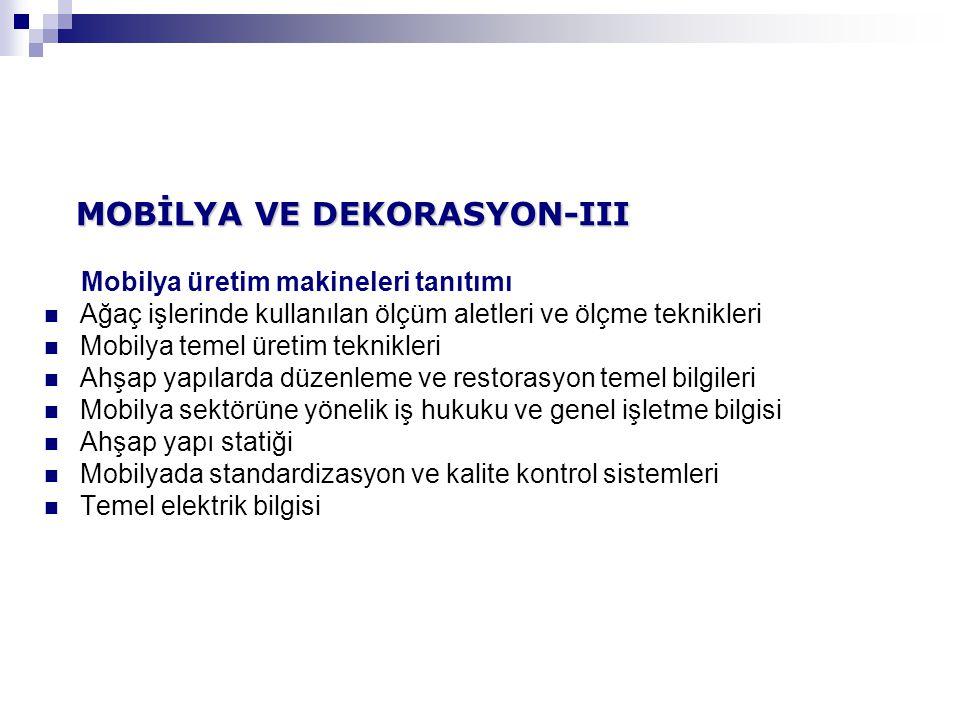 MOBİLYA VE DEKORASYON-III