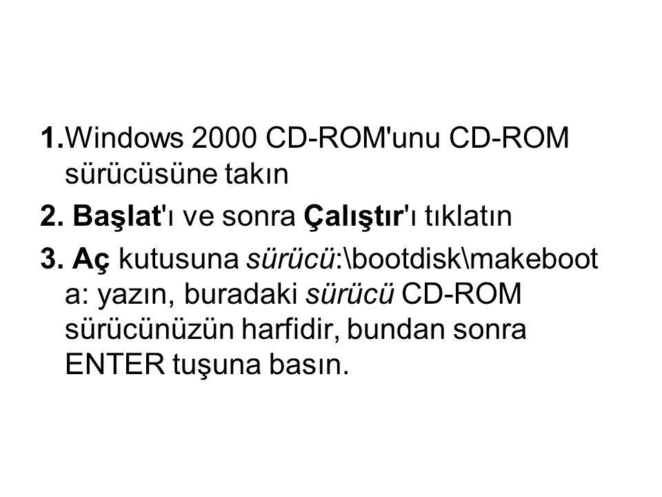 1.Windows 2000 CD-ROM unu CD-ROM sürücüsüne takın