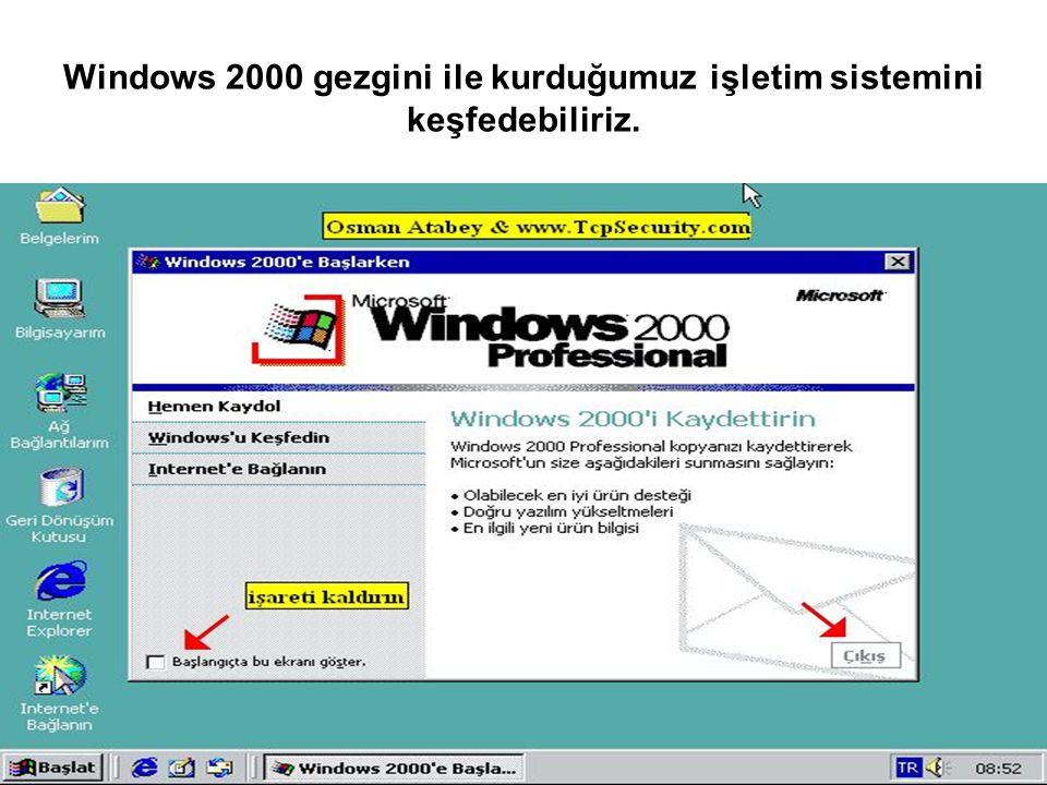 Windows 2000 gezgini ile kurduğumuz işletim sistemini keşfedebiliriz.