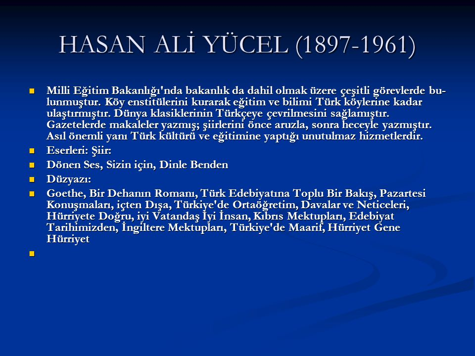 HASAN ALİ YÜCEL (1897-1961)