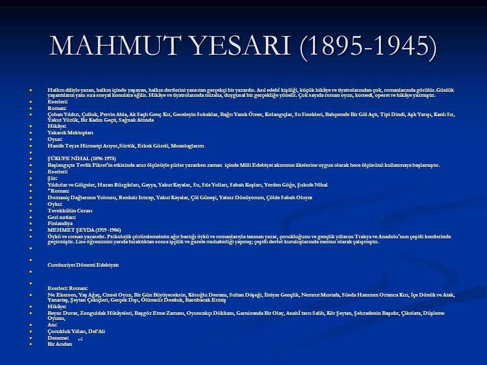 MAHMUT YESARI (1895-1945)