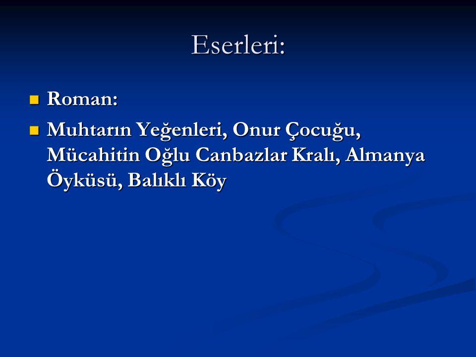 Eserleri: Roman: Muhtarın Yeğenleri, Onur Çocuğu, Mücahitin Oğlu Canbazlar Kralı, Almanya Öyküsü, Balıklı Köy.