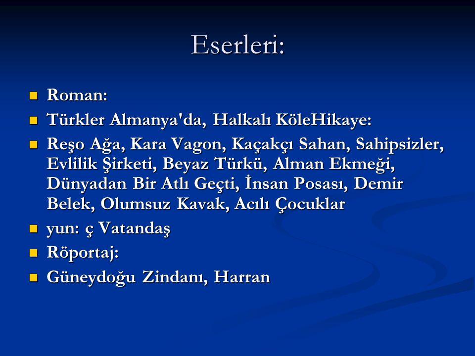 Eserleri: Roman: Türkler Almanya da, Halkalı KöleHikaye: