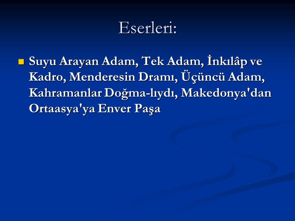 Eserleri: Suyu Arayan Adam, Tek Adam, İnkılâp ve Kadro, Menderesin Dramı, Üçüncü Adam, Kahramanlar Doğma-lıydı, Makedonya dan Ortaasya ya Enver Paşa.