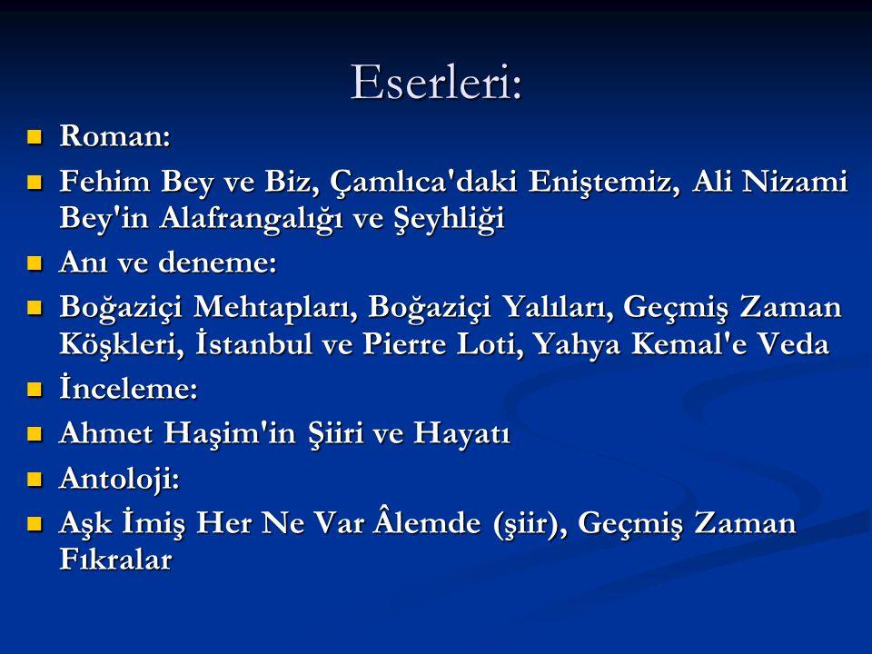 Eserleri: Roman: Fehim Bey ve Biz, Çamlıca daki Eniştemiz, Ali Nizami Bey in Alafrangalığı ve Şeyhliği.