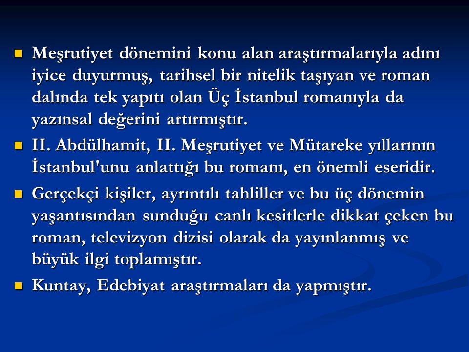 Meşrutiyet dönemini konu alan araştırmalarıyla adını iyice duyurmuş, tarihsel bir nitelik taşıyan ve roman dalında tek yapıtı olan Üç İstanbul romanıyla da yazınsal değerini artırmıştır.